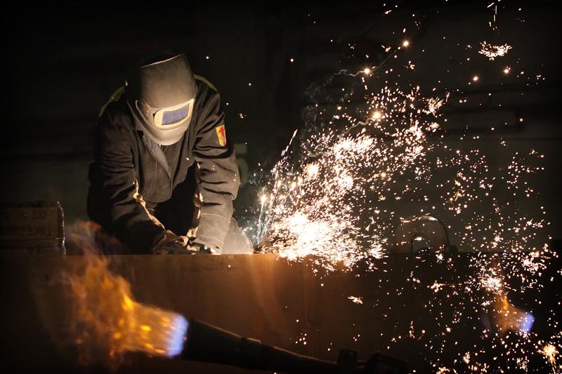 Blue work industrial glove - Stock Photo Ruslan Olinchuk #2133452