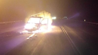 ВРязанской области грузовой автомобиль стульскими номерами зажегся после ДТП
