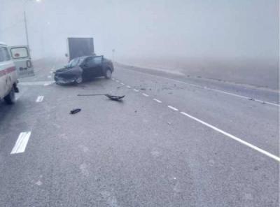 Натрассе вРязанской области автомобиль Киа врезался вовстречный Mercedes